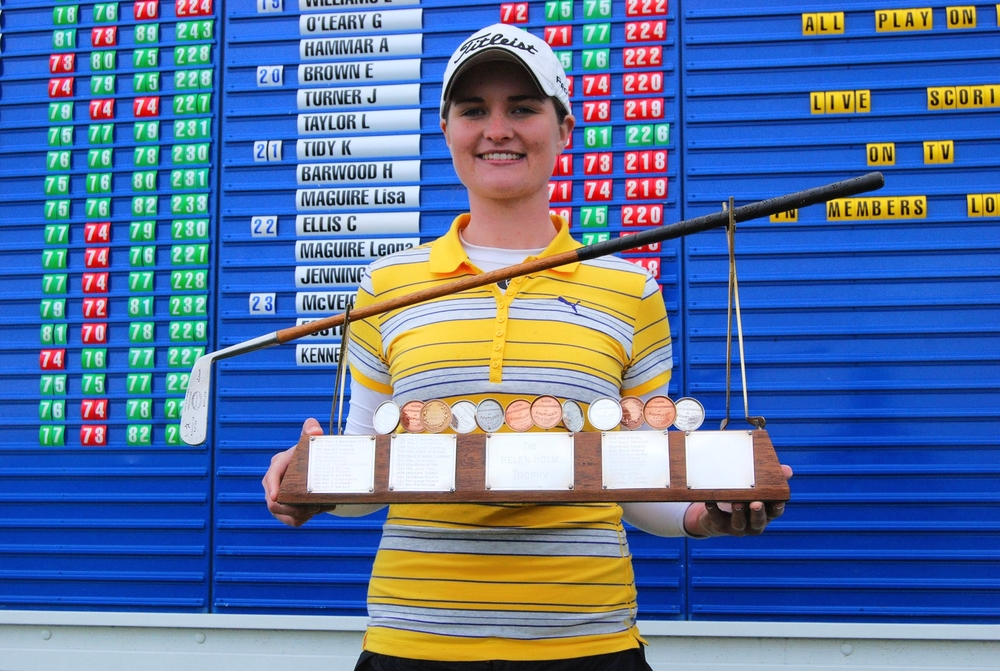Danielle McVeigh with the 2010 Helen Holm Scottish Women's Open Strokeplay Championship at Troon. Picture via http://www.daniellemcveigh.co.uk