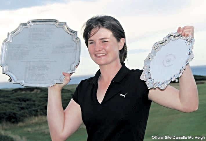 Danielle with the 2009 Ladies British Open trophies. Picture via www.daniellemcveigh.co.uk