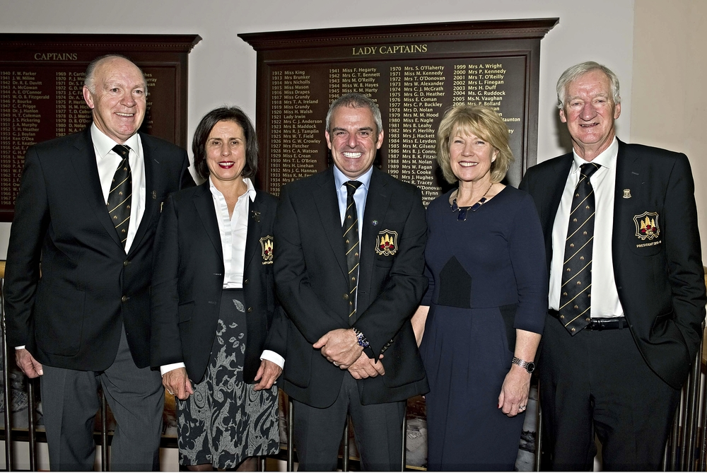 Paul McGinley with the incoming officers at Grange. The Ryder Cup captain will double as honorary Captain of Grange in 2014.