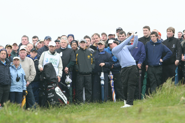 Rory McIlroy recovers from the rough in the 3 Irish Open at Co Louth in 2009. Picture Jenny Matthews/ www.golffile.ie