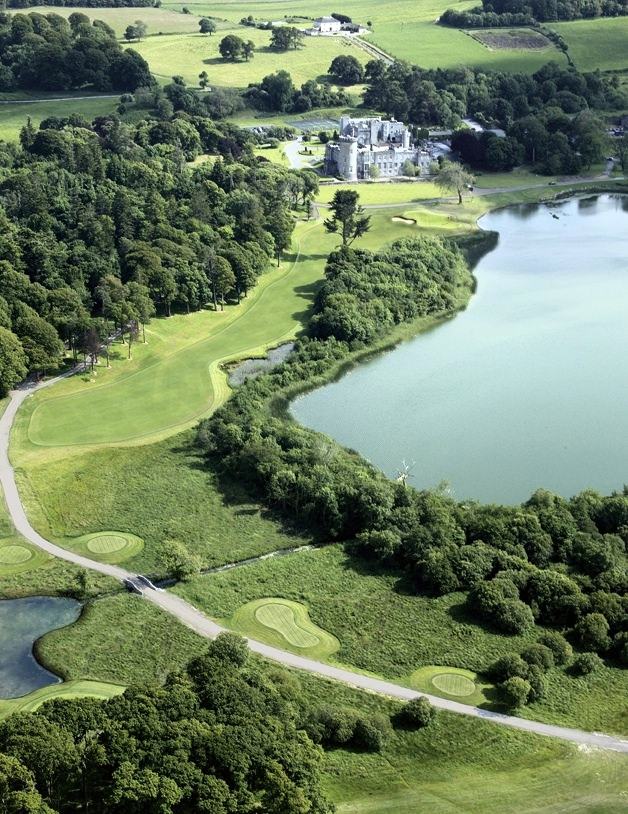 An aerial view of the 18th at Dromland Castle, home of the Mid West Alliance.