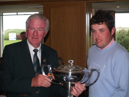 Eugene Fayne, Connacht Branch, presents the 2011 West of Ireland trophy to Paul Cutler.