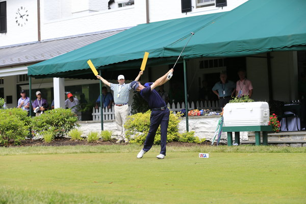 Kevin Phelan tees off in the first round of the 2013 US Open at Merion. Picture: Eoin Clarke  www.golffile.ie