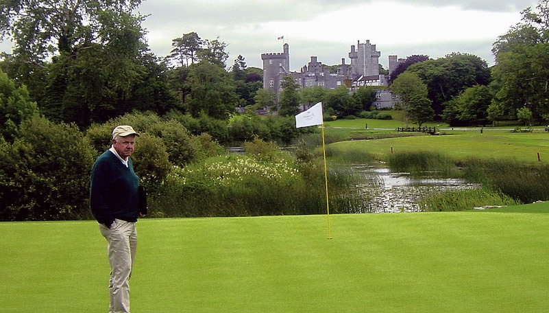 Ron Kirby admires his handiwork at Dromoland Castle. Picture via dromolandgolf.com