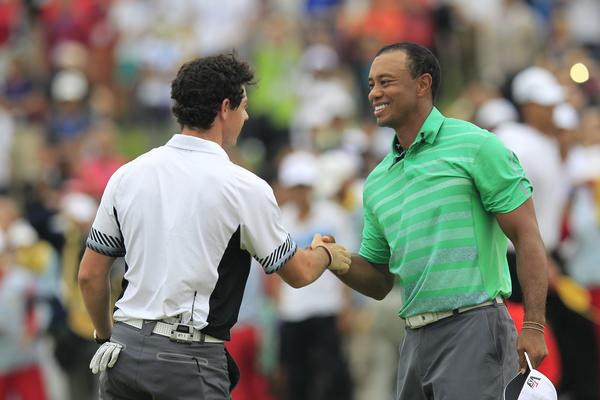 Rory McIlroy beats Tiger Woods at Mission Hills in October. Will they meet with a major on the line in 2014? Picture: Eoin Clarke /  www.golffile.ie