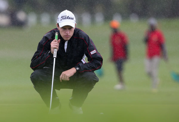 Kevin Phelan lines up a putt at the Nelson Mandela Championship. Picture: David Lloyd / www.golffile.ie