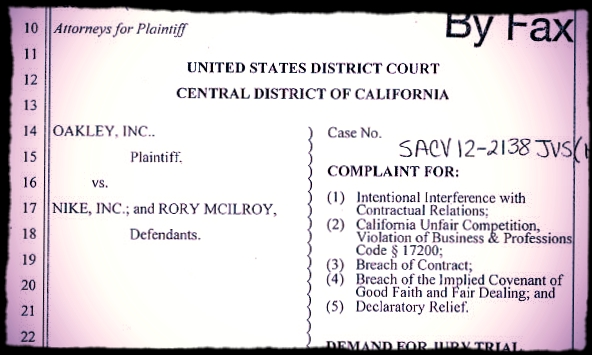 The Oakley demand before the out of court settlement with Rory McIlroy.