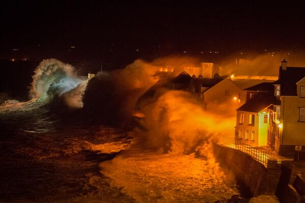 Lahinch promenade taking a battering from the storm on Friday night. The picture was taken by Lahinch resident George Karbus, a Czech native and award winning photographer. © George Karbus
