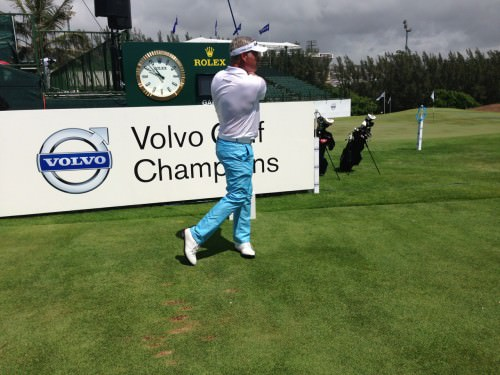 Darren Clarke tees off in the Volvo Golf Champions Pro-Am.