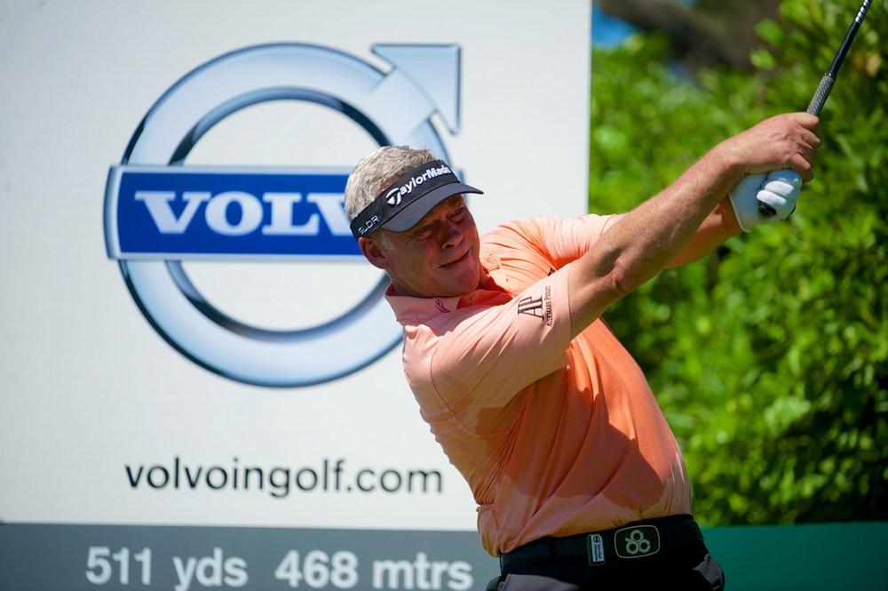 A slimline Darren Clarke tees off in practice in Durban this week. Picture © Volvo In Golf