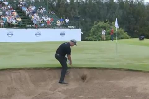 Darren Clarke made this fine up and down to save par on the 18th