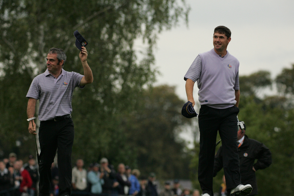 Paul McGinley and Pádraig Harrington during the Saturday afternoon foursomes in the 2006 Ryder Cup at The K Club. Photo: Fran Caffrey/  www.golffile.ie