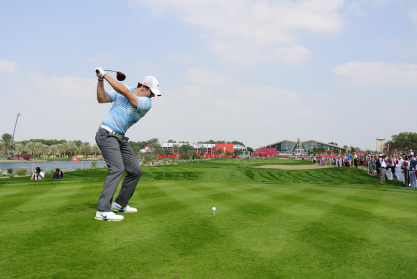 Rory McIlroy tees off on the ninth in the first round of the Abu Dhabi HSBC Golf Championship. Picture: Eoin Clarke  www.golffile.ie