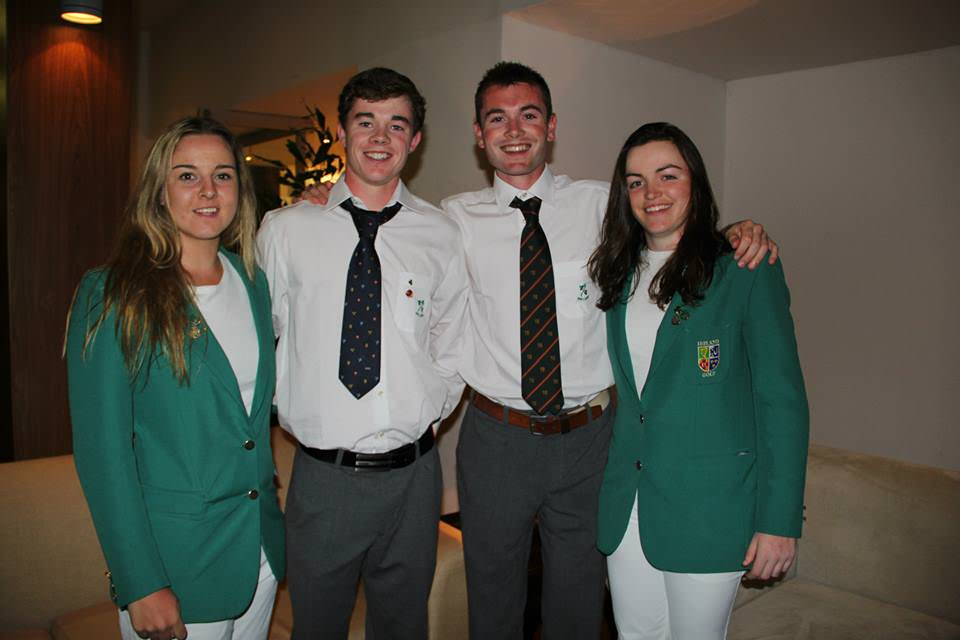 Ireland's Jessica Carty, Stuart Grehan, Stephen Healy and Chloe Ryan at the opening ceremony.
