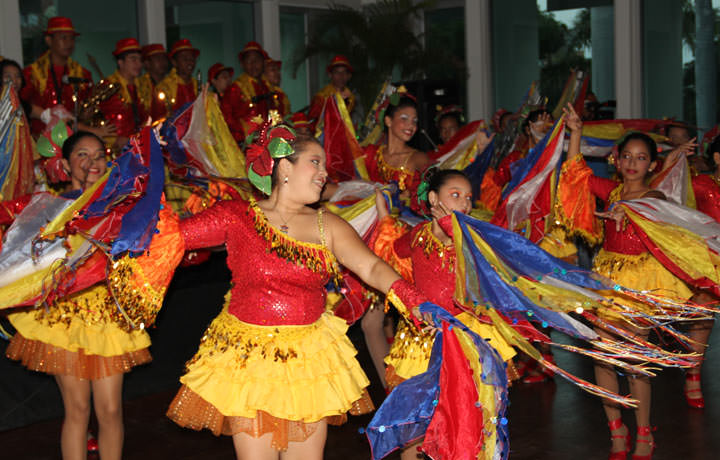 Local dancers perform at the opening ceremony.