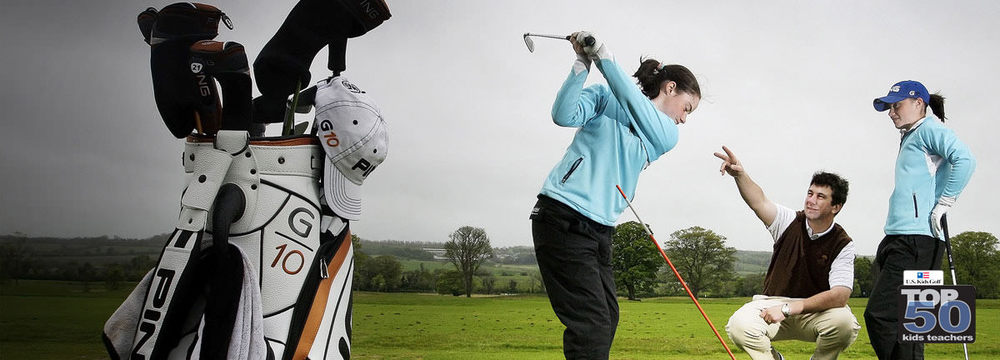 Shane O'Grady coaching the Maguire twins, Leona and Lisa. Picture via www.soggolf.com