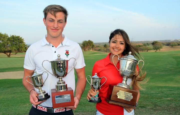 South American Amateur Open winners Paul Howard of England and Peru's Lucia Gutiérrez.
