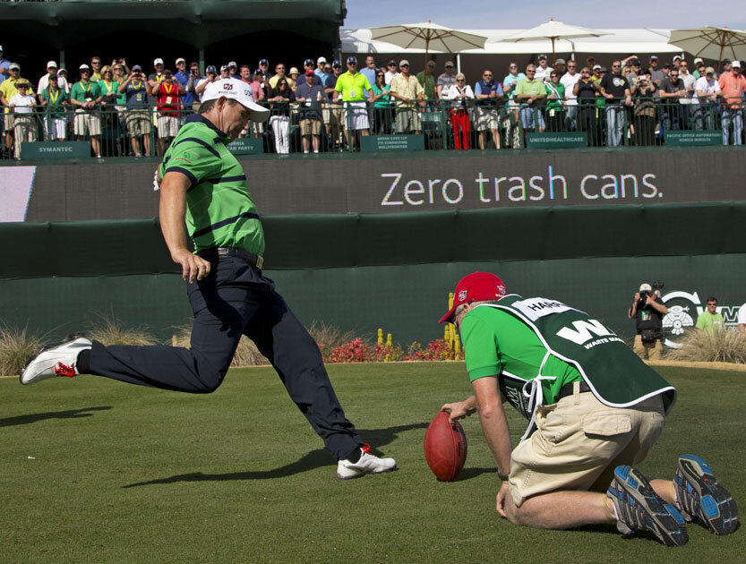 Padraig Harrington kicks on Friday in Phoenix last year.