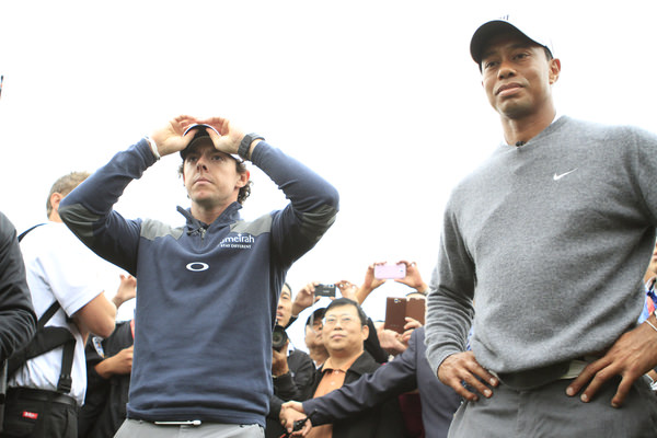 Rory McIlroy and Tiger Woods during an exhibition in China 15 months ago. The major tally was 14-2 then too. Picture Photo www.golffile.ie