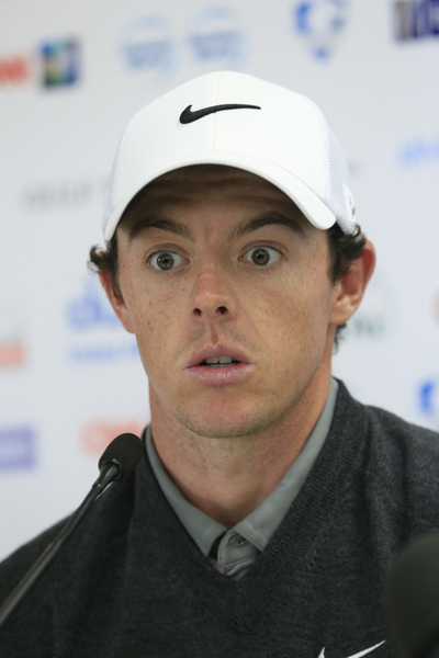 Rory McIlroy looks as though he was just asked if Tiger Woods is finished as a major force. Picture Eoin Clarke / www.golffile.ie