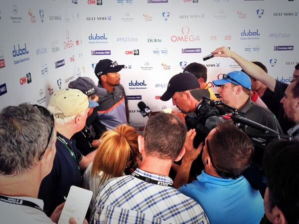 Tiger Woods in the media scrum after his 68. Picture via  @European_Tour
