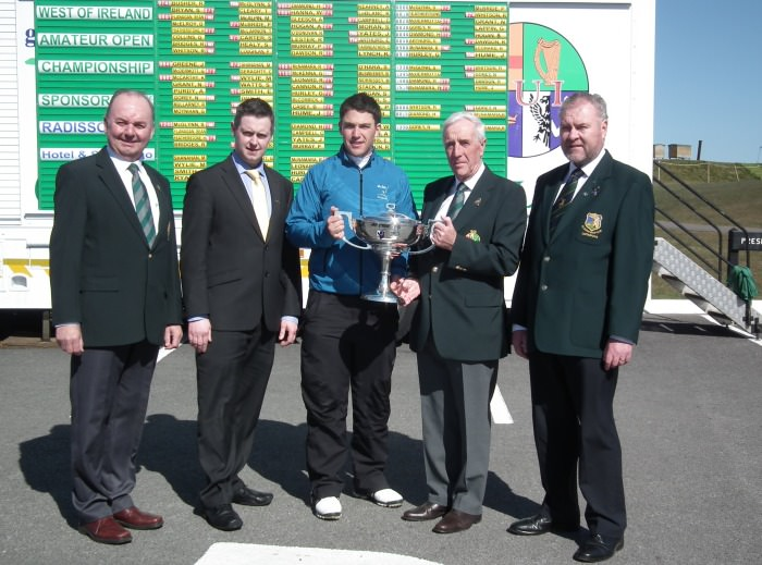 Headfort's Rory McNamara receiving the West of Ireland Championship trophy in 2013. (L-R): Michael Connaughton (Chairman Connacht GUI), Seamus Preston (General Manager Radisson Blu Hotel & Spa, Sligo), Rory McNamara (Headfort), Ivor McCandless (President GUI) and Terry Brady (Captain Co. Sligo GC).