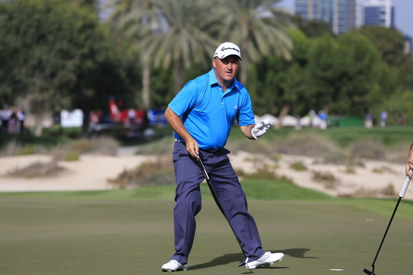 Damien McGrane birdies the 15th in the first round in Dubai. Picture: Eoin Clarke www.golffile.ie