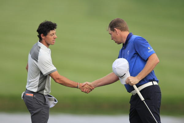 Rory McIlroy outscored Stephen Gallacher by three shots on Thursday — 63 to 66. He needs a similar result at The Emirates Golf Club on Sunday. Picture Eoin Clarke  www.golffile.ie