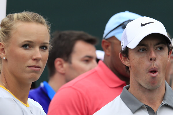 Caroline Wozniacki and  Rory McIlroy   wait on the 17th tee during the final round of the Omega Dubai Desert Classic.   Picture: Eoin Clarke  www.golffile.ie