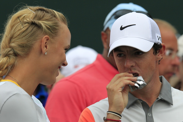 Wozniacki and McIlroy chat on the 17th. Picture Eoin Clarke www.golffile.ie