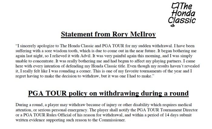 The statement issued by the PGA Tour on 1 March 2013