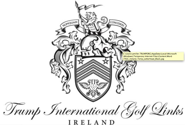 "The press release on ""Trump International Golf Links - Ireland"" features the same logo and coats of arms used at Trump International - Scotland."