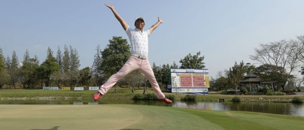 Japan's Akinori Tani celebrates his victory. Picture via  AsianTour.com