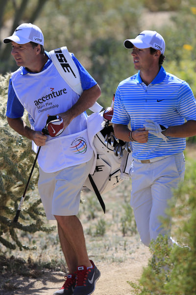 Rory McIlroy and his caddie JP Fitzgerald walk through the desert in the second round of the WGC-Accenture Match Play at Dove Mountain outside Tucson. Picture: Fran Caffrey  www.golffile.ie