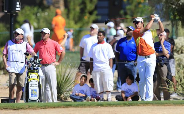 Graeme McDowell watches Hideki Matsuyama.Picture: Fran Caffreywww.golffile.ie