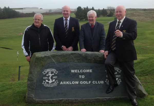 Left-right - Peter Gaw,  Down Syndrome Centre; Darren Ryan, Captain Arklow Golf Club; Michael McCumiskey, Secretary PGA of Ireland; Chris Davitt, President of Arklow Golf Club