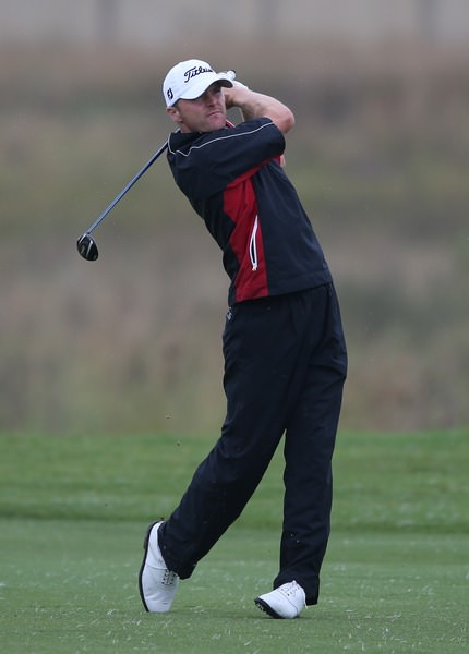 Michael Hoey  hits his approach to the fourth, setting up an eagle three. Picture: David Lloyd / www.golffile.ie