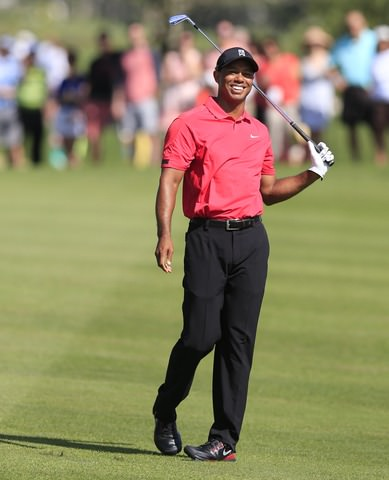Tiger Woods can only laugh as another shot goes awry at PGA National. Picture: Fran Caffrey www.golffile.ie