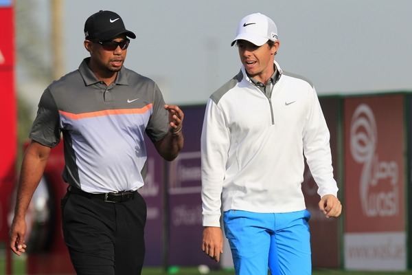 Tiger Woods and Rory McIlroy in conversation in Dubai earlier this year. Picture: Eoin Clarke  www.golffile.ie