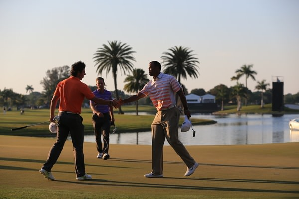 Last year - Rory McIlroy and Tiger Woods shake hands at Doral. Picture: Fran Caffrey /  www.golffile.ie ..