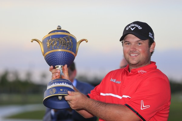 Patrick Reed with the WGC-Cadillac Championship trophy. Picture: Fran Caffrey  www.golffile.ie