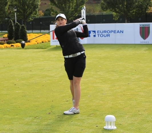Olivia Mehaffey in action during the Faldo Series.