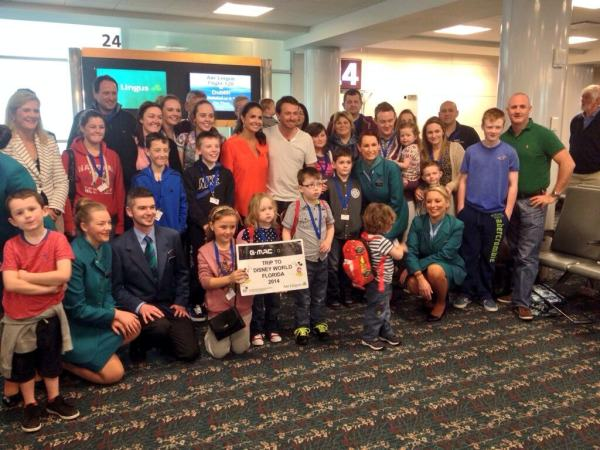 Graeme McDowell and his wife Kristin greeted the children and their families in Orlando airport.this week.