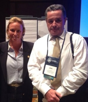 John Roche with Dottie Pepper at  Junior Golf talk at a conference in Orlando earlier this year.