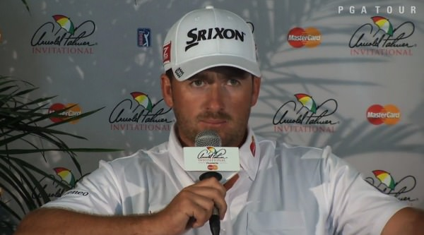 Graeme McDowell speaking at Bay Hill on Wednesday.