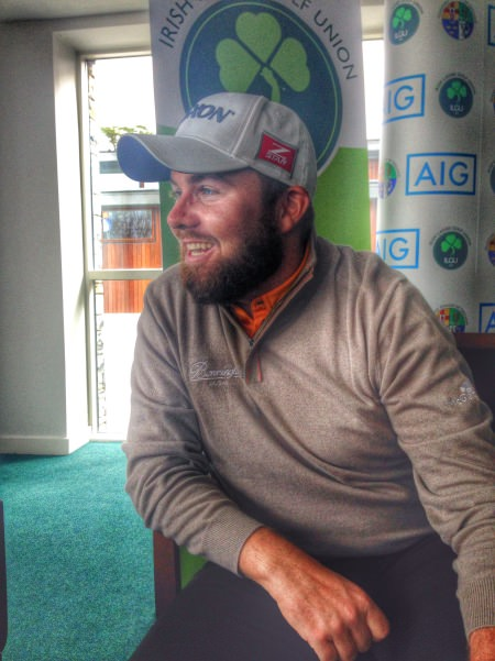 A relaxed Shane Lowry speaks to the media at the AIG announcement at the GUI's National HQ in Carton House.