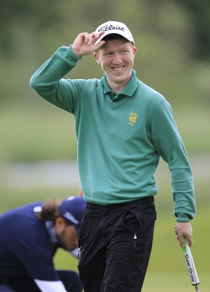 Gavin Moynihan salutes his supporters during last year's Irish Open at Carton House. Picture: Thos Caffrey /  www.golffile.ie