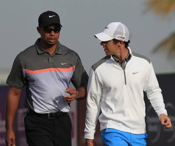 Rory McIlroy and Tiger Woods in Dubai earlier this year. Picture: Eoin Clarke  www.golffile.ie