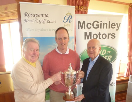 2014 Rosapenna Senior Scratch Cup winner Eddie McCormack with sponsor Noel McGinley (right) and Rosapenna Captain Bernard O'Neill (left).