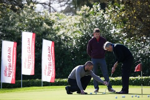 Kenny Fahey, Head Professional at the GUI National Golf Academy, Karl Morris, top golf performance coach, and Jim McNeill, Managing Director of Kellogg Company of Ireland pictured at the launch of the Kellogg's Nutri-Grain Golf Skills Challenge at the GUI National Golf Academy, Maynooth.